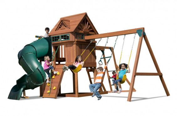 The Sky Loft is specially outfitted with a spiral tube slide, monkey bars, rock climbing wall and much more. What else could a child want in their backyard adventure?