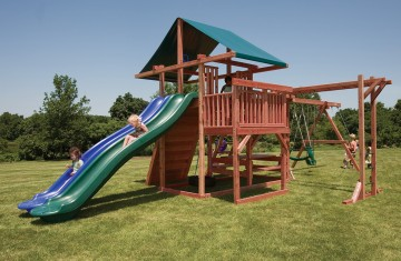 Backyard playsets with side by side slides