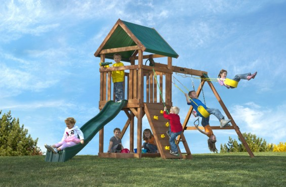 This swing set will encourage children to climb, slide and explore from sunrise to sunset.