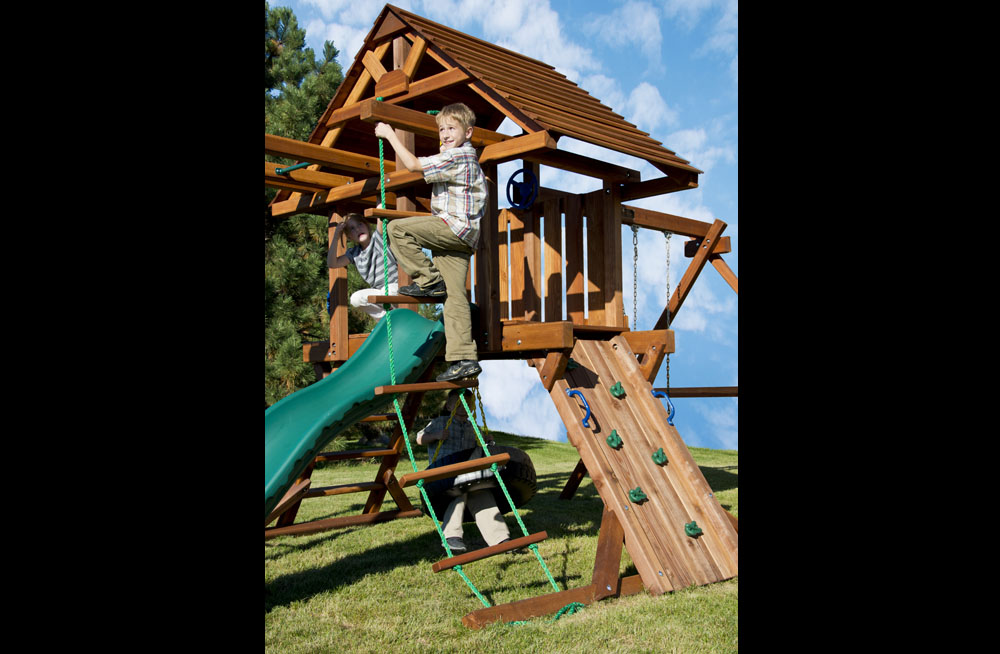 Two Ring Backyard Swing Set With Slide Wooden Roof Kids Creations