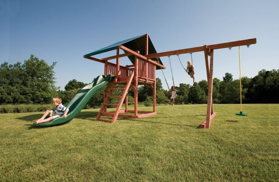 With three swing options, a long scoop slide and a large play deck, there will be plenty of adventure to explore.