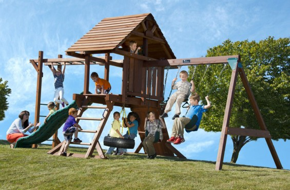 While children will create lifelong memories playing on this swing set, the gorgeous gable inspired roof design will create extra curb appeal in any backyard setting.