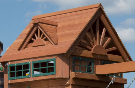 Gable style roof features two decorative dormers and 4 look out windows. The look windows will allow children to play peek-a-boo with their friends.