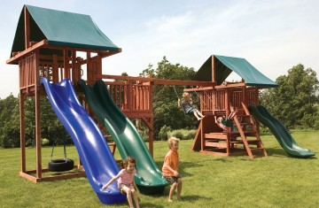 Swing and slide sets with 2 vinyl canopies