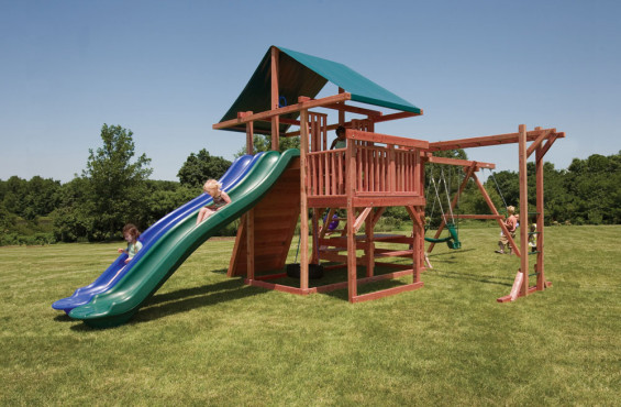 The Main Attraction play set comes with 2 slides, 4 swings, monkey bars & more. There is even a picnic table for kids to relax and recharge.