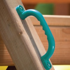 Green safety handles provide extra grip during play.