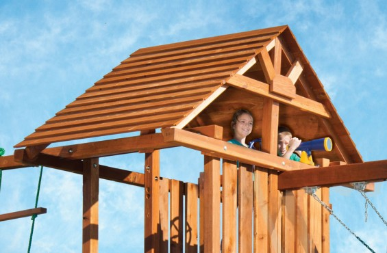 Underneath the beautifully designed gable roof, children can steer their adventure in the direction of their choice or peek into the swiveling telescope to get a different view of their backyard playscape.