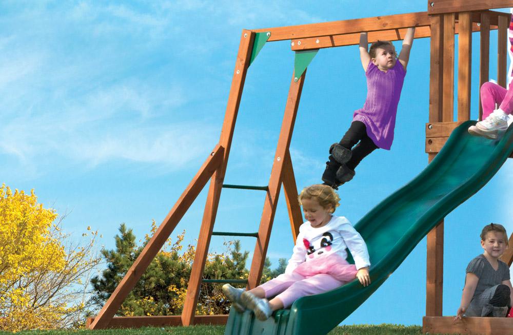 Wood Swing Sets >> High Flyer Wood Swing Set with Monkey Bars, Slide & More | Kids Creations