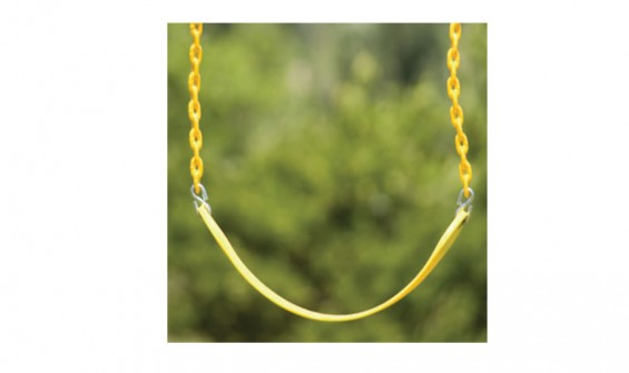 Yellow belt swing seat with plastisol coated chains
