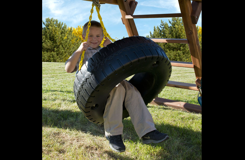 Tire Size Comparison >> Two Ring Swing Set with Tire Swing, Slide and Rock Wall ...