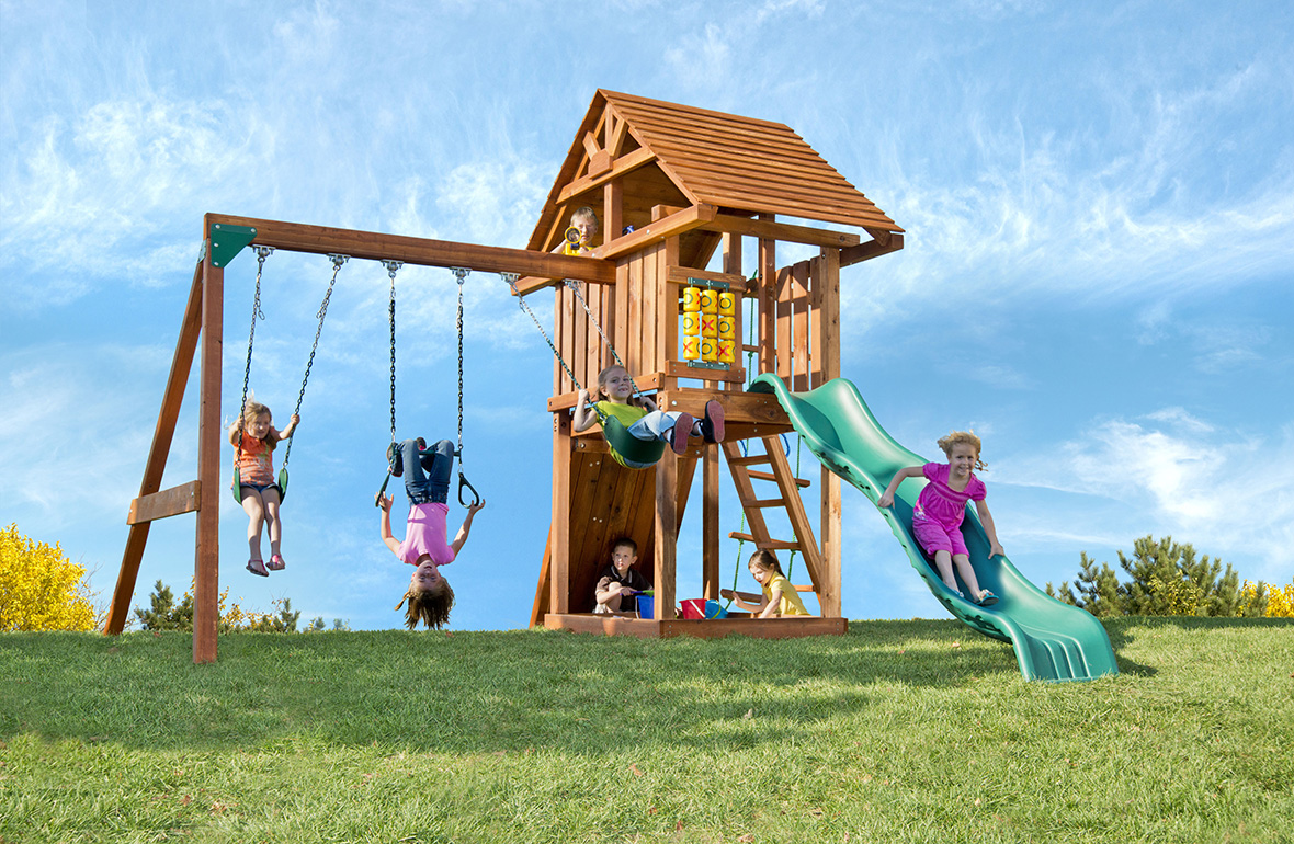 home wooden swing sets signature redwood swing sets circus deluxe