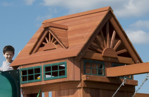 The beautifully designed gable-style wooden roof is adorned with two decorative dormers and 4 lookout windows. Children will often use the top-tier play deck as a fort or imagine themselves commanding a pirate's ship.
