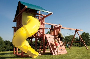 Wood playsets with a sweeping spiral slide