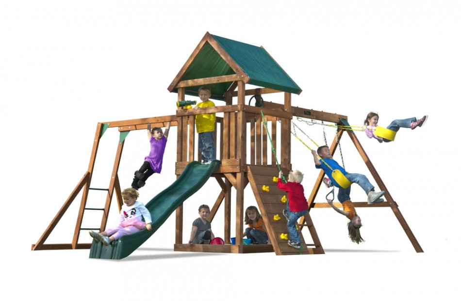 High Flyer Wood Swing Set With Monkey Bars And Slide Kids Creations