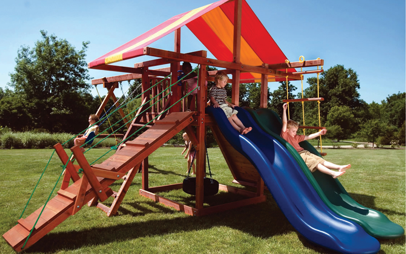 Backyard Playground Accessories : Home Wooden Swing Sets Premier Redwood Swing Sets Big Top